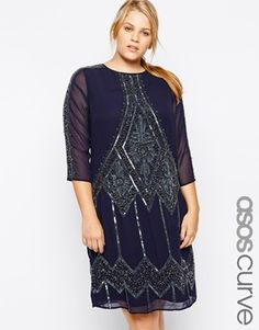 ASOS CURVE Exclusive Shift Dress With Embellishment - Navy