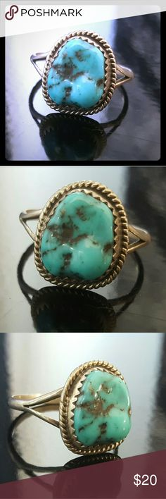 Sterling Silver and Natural Turquoise Ring Authentic Native American Jewelry Jewelry Rings