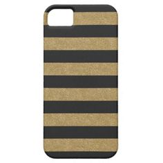 Black and Gold Glitter Stripes iPhone 5/5S Case