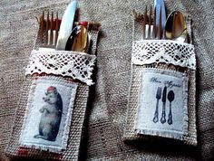 DIY Burlap Silverware Holders  I have friends who love to sew. I would leave the design on top off or just not stencil something on top, but I don't sew.  Idea for my other friends who do.