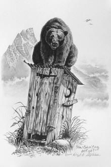 western outhouses, western pencil drawings of outhouses by artist Virgil C. Stephens