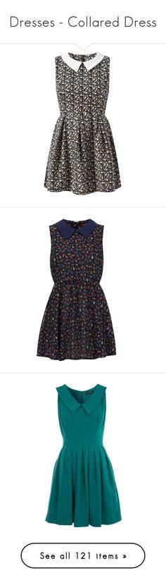 """Dresses - Collared Dress"" by giovanna1995 ❤ liked on Polyvore featuring dresses, vestidos, no sleeve dress, metallic dress, contrast collar dress, skater dress, lips dress, blue, blue chiffon dress and blue peter pan dress"