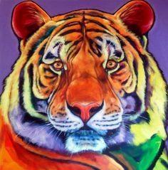 "Ron Burns, ""Harmony"","" ""30"" x 30""  #Tiger #painting"