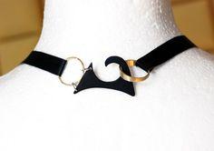 """IFS"" necklace/ back: colored metal, silver, brass, leather Jewelry designer:Paulina Makowska / SZMER-craft Projektantka: Paulina Makowska / SZMER-craft"
