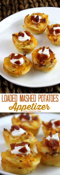 Loaded Mashed Potatoes Appetizer Bites There is nothing better than an easy party appetizer! That's why I love these Cheesy Loaded Mashed Potatoes Appetizer Bites! The perfect easy to serve bite size potato appetizer! Potato Appetizers, Appetizers For Party, Appetizer Recipes, Snack Recipes, Cooking Recipes, Easy Bite Size Appetizers, Appetizer Ideas, Parties Food, Meatless Recipes