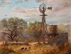 """Wild Turkeys"" by Gwendolyn H. Branstetter. Turkey feeding at an old cattle watering trough in South Texas. This is a typical scene in the spring time - note the mesquite trees are leafing out."