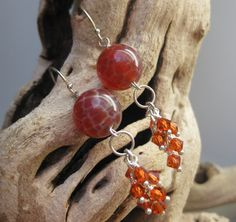 Red fire agate stone earrings, handmade by Bethany Rose Designs. See more handcrafted jewelry at www.BethanyRoseDesigns.etsy.com