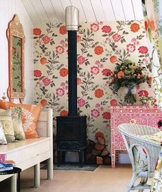 Captivating Bright Floral Wallpaper Is Expertly Combined With Similar Colors And  Contrasting Patterns To Create An Eclectic Yet Romantic Feel