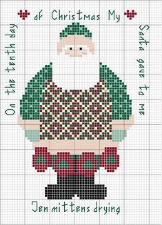 Schema punto croce Santa Day 04 Cross Stitch Freebies, Cross Stitch Charts, Cross Stitch Designs, Cross Stitch Patterns, Cross Stitch Christmas Ornaments, Christmas Cross, Cross Stitching, Cross Stitch Embroidery, Santa Cross Stitch