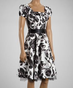 This Black & White Vintage Floral A-Line Dress - Women by HEARTS & ROSES LONDON is perfect! #zulilyfinds