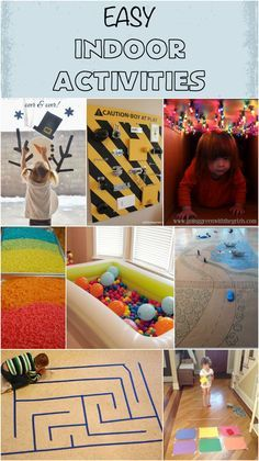 Great indoor activities for cold or rainy days! Great for snow days too!