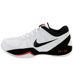 Nike Air Ring Leader Low Mens 488102-100 White Black Red Basketball Shoes Sz 9.5