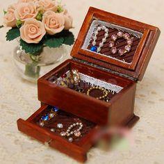 1 12 Dollhouse Miniature Jewelry BOX Case W Drawer Brown Wood Storage Organizer | eBay