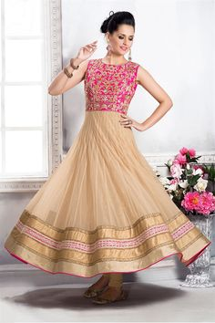 High neck style anarkali salwar kameez suit is now trending... Match it with pretty ethnic earrings and you are good to go! Shop anarkali salwar kameez suit Online: http://www.aishwaryadesignstudio.com/readymade%20dresses/16584-beautiful-pink-beige-color-anarkali-suit.aspx