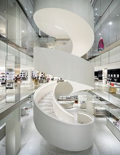 Staircase at Barney's flagship in downtown New York. Steven Harris, architect.