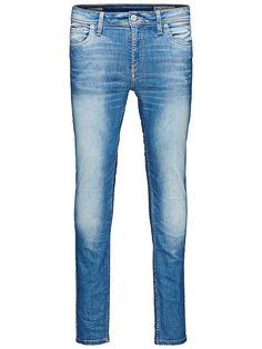 ORIGINALS by JACK & JONES - Skinny-Fit-Jeans von ORIGINALS - 5-Taschen-Modell - Low rise - Schmale Oberschenkel- und Knieform - Enger Beinabschluss - Hosenschlitz mit Reißverschluss - Bleichungen und Breaks sorgen für den Used-Look - Markenlogo-Patch auf der Münztasche  Die Ben Original Slim-Fit-Jeans stehen für echten Vintage-Style im Skinny-Look mit klassischen Details. Jeans mit tollen Stret...