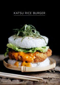 "Katsu Rice Burger creatively turns short grained sushi rice into ""buns."" #Ad Sushi Burger, Burger Food, A Food, Good Food, Yummy Food, Pasta Al Curry, Salsa Curry, Asian Recipes, Healthy Recipes"