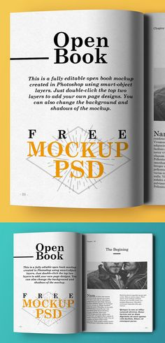 Free Open Book Mockup PSD