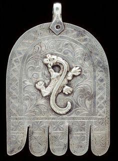 Morocco   Silver pendant. ( Hand of Fatima ~ Khamsa/Hamesh)   African Museum (Belgium) Collection; acquired 1978