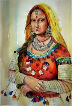 Rajhasthani Mona Lisa - Watercolor on Arches Paper  SOLD