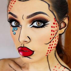 If you have been following me since the beginning you might just recognise this Pop Art look. I did this at the start of the year but I thought I would share this with you as a last minute Halloween look idea! All you need is a black eyeliner and a red li
