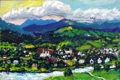 Artwork >> Angelo Tremblay >> Baie St-Paul, Quebec, Canada, acrylic 24 x 36 in. #artwork, #masterpiece, #oil, #painting, #canvas,  #nature, #trees, #sky