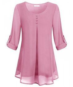 Comprar Blusa fluida de gasa con cuello redondo y manga larga con cuello redondo y manga larga para mujer ... - #blusa #comprar #Con #cuello #de #fluida #gasa #larga #manga #mujer #para #redondo