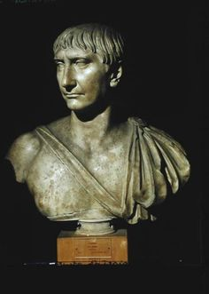 Bust of Trajan, c. 108 AD, Capitoline Museum, Rome, marble. 10 year anniversary. Wears paludamentum (military cloak), a sword sheath strap across his chest, heroically nude (never actually appeared so). Succeeded Nerva at age 45, actually depicted in 40s, hair is always combed straight forward and his only lines are around his mouth.