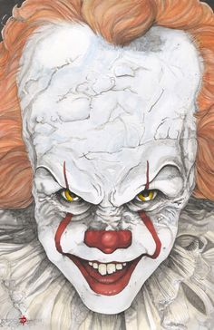 IT Pennywise The Clown Bill Skarsgard Stephen King by ChrisOzFulton on DeviantArt Es Der Clown, Le Clown, Creepy Clown, Pennywise Film, Pennywise The Dancing Clown, Pennywise Tattoo, Arte Horror, Horror Art, Scary Movies