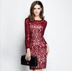 summer ladies sexy fashion Slim Skinny Women's clothing long sleeve bodycon lace net yarn embroidery  Package hips dresses Z14