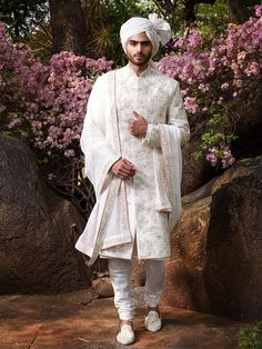 Off white raw silk Sherwani with self thread work embroidery and pearl highlights, paired with matching shawl! Get your Amazing Anushree Reddy Men Look for your coming functions now! Contact us now 07931 999111 or email us at contact@bibilondon.com to book your Menswear Consultation! #ar#IndianWeddings #IndianCouture #anuhreereddy #bibilondon #IntimateWeddings #bibildn #bibiman #indianmenswear #destinationwedding #indiangroom #indianlook #menswear Sherwani For Men Wedding, Wedding Dresses Men Indian, Sherwani Groom, Wedding Men, Wedding Outfits, Wedding Attire, Wedding Poses, Wedding Ideas, Indian Groom Dress