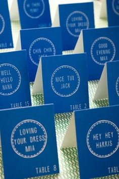 Detail To Love: Personalized Escort Cards in this season's hottest Pantone Color, Dazzling Blue on Every Last Detail