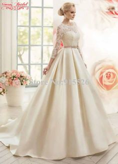 2015 New Arrival Wedding Dress Appliques Lace Scoop Three Quarter Sleeves Floor-Length Ball Gown Dress Free Shipping AE55
