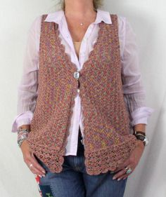 Fun Rainbow Colored Talbots Crochet Vest XL size Cotton Blend All Season Goes With Everything