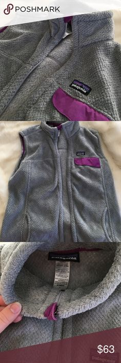 Patagonia Re-Tool Vest Patagonia grey fleece vest with purple accents. In great condition! Patagonia Jackets & Coats Vests