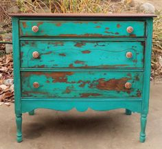 Hey, I found this really awesome Etsy listing at https://www.etsy.com/listing/209282573/distressed-turquoise-dresser-turquoise