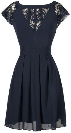 Navy Chiffon +Lace Dress