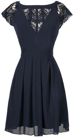 Navy Chiffon +Lace Dress