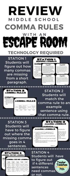 Escape Room Comma Challenge --MYP 2