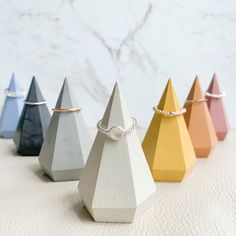 Colourful Geometric Concrete Ring Prisms (7 Colours) | Ring Display | Grey | Minimal | Modern #etsy #rainbow #concrete #ringcone #ringholder Concrete Ring, Concrete Jewelry, Pink Ocean, Ring Displays, Jewelry Dish, Color Ring, Ring Dish, Off Colour, Mellow Yellow