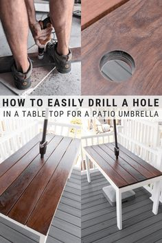 How to drill a hole in a table for a patio umbrella Diy Furniture On A Budget, Simple Furniture, Inexpensive Furniture, Diy On A Budget, Furniture Making, Plywood Furniture, Modern Furniture, Furniture Design, Patio Table Umbrella