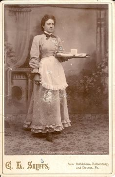 Workday Wednesday - Tea Time Anyone? Housemaid/Servant to the Uppercrust? 1890's  http://forgottenfacesandlongagoplaces.blogspot.com/2012/05/workday-wednesday-tea-time-anyone.html#