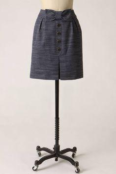 Anthropologie Sprightly Skirt Sz 12, Navy Blue Tweedy A-Line w/Bow, Leifsdottir #Leifsdottir #ALine