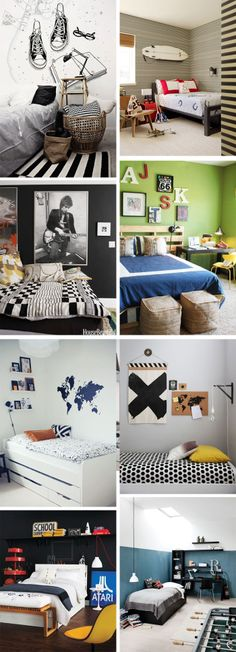 Ideas & Inspiration: Teenage Boys Rooms, I only like a couple of these, because my son has to give his room up as a guest room, so it can't be too crazy