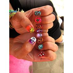 A bunch of different nail art. Very cute