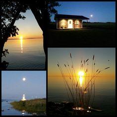 Solnedgång och månuppgång på Sudret