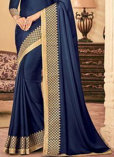 Dark Blue Embroidered Silk Saree features a gorgeous silk saree. Embroidery work is completed with zari, thread, and stone. Crepe Silk Sarees, Chiffon Saree, Saree Blouse Patterns, Saree Blouse Designs, Beautiful Saree, Beautiful Dresses, Plain Saree With Heavy Blouse, Navy Blue Saree, Indian Embroidery Designs