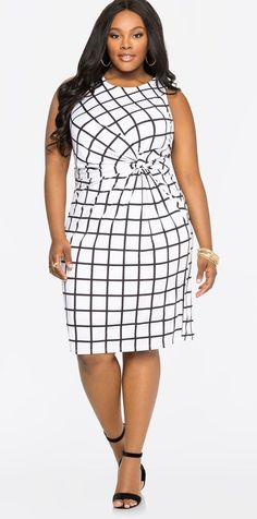 Plus Size Windowpane Knot Waist Dress