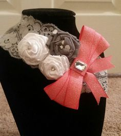 Baby girl grey lace headband with white rose flowers and peach pink bow and crystal rhinestones by SarahsBlingandLace