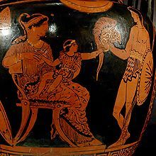 Hector's last visit with his wife, Andromache, and infant son Astyanax, startled by his father's helmet (Apulian red-figure vase, 370–360 BC) (The Iliad)